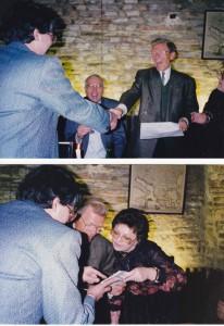 Dr. Pesztenlehrer István Dr. J. Gleditsch Dr. Hegyi Gabriella, háttal: Dr. Csiszár Róbert 1992- Győr MAOT kongresszus bankett